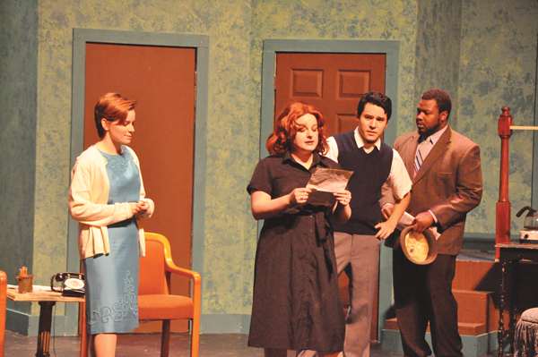 BRAULIO TELLEZ/THE ET CETERA Rosalind (Kayla Anderson), left, Paul (Michael Duron), middle, and Richard (Jerome Phillips), right, listen as Charlotte reads aloud the message that George has left her.
