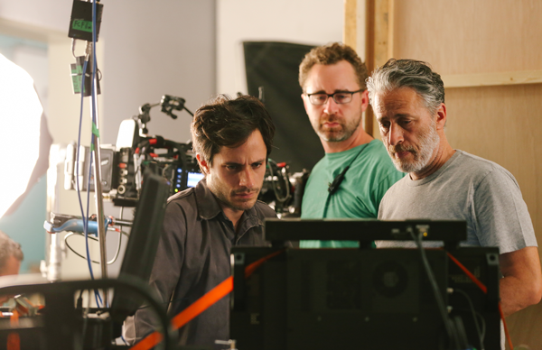 """COURTESY OF LAITH AL-MAJALI/OPEN ROAD FILMS Gael García Bernal, first assistant camera operator Michael Burke and Jon Stewart on the set of """"Rosewater,"""" which opened Nov. 14."""