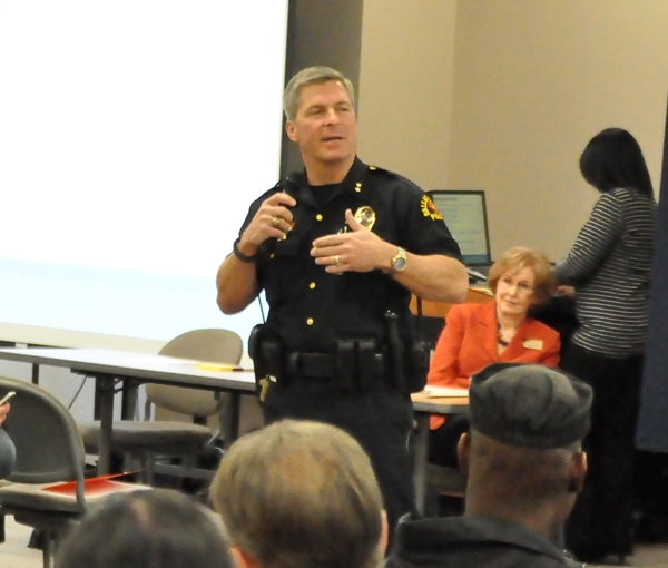 GUILLERMO MARTINEZ/THE ET CETERA Police Chief Michael Horak reminds students and staff at a safety forum Nov. 19 to let officers handle suspected criminal incidents.
