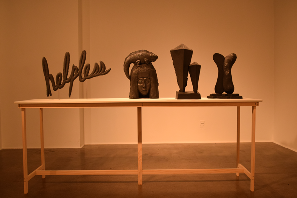 "A collection of McConnell's sculptures from his series ""What It Means to Move."" Photo by Stormy Wallbrecher/The Et Cetera."