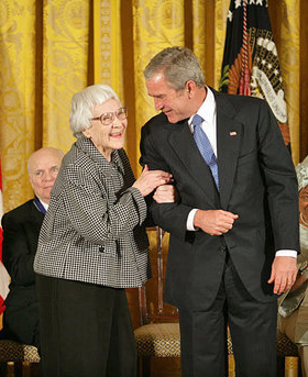 President George W. Bush recognizes Harper Lee with the Presidential Medal of Freedom. Courtesy the White House