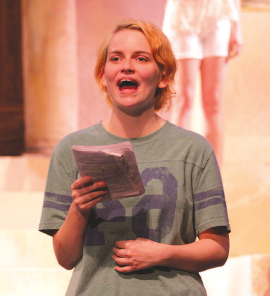 """The cast of """"The Medea"""" rehearses for its April 9 debut. Kayla Anderson works on her lines. Photo by Jonathan Wences."""