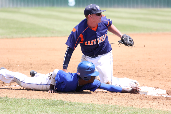 Blayten Magana tags a Mountain View runner out at third after a botched attempt to steal in the first game of the double header on May 2. The runner slid and missed the bag. Photo by James Hartley/The Et Cetera.