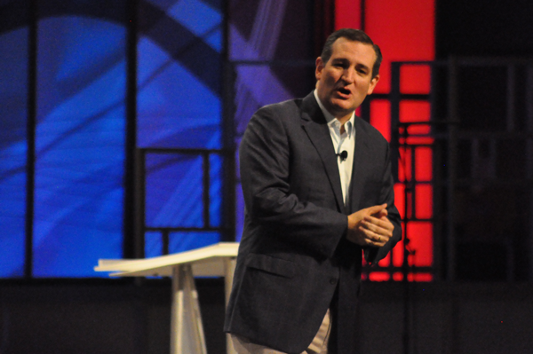 Sen. Ted Cruz speaks at the Oct. 18 North Texas Presidential Forum at Plano's Prestonwood Baptist Church. Photo by James Hartley/The Et Cetera.