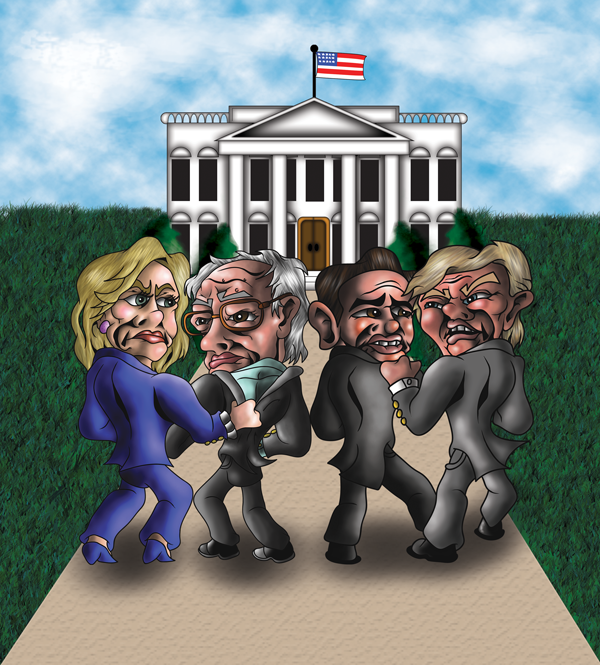 HILLARY CLINTON, BERNIE SANDERS, TED CRUZ AND DONALD TRUMP ILLUSTRATION BY MATTHEW ROHAN
