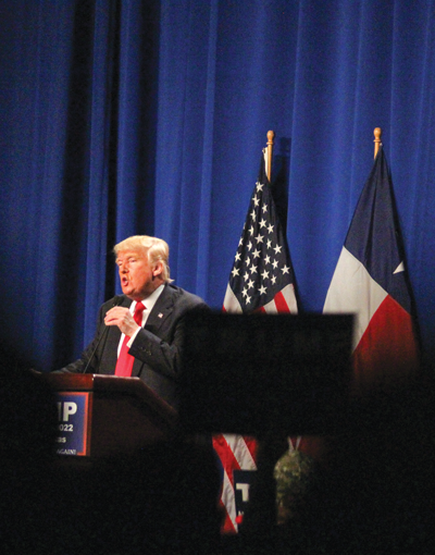 BUSINESS MAN DONALD TRUMP SPEAKING TO SUPPORTERS AT A RALLY IN FORT WORTH FEB.26 PHOTO BY JONATHAN WENCES/ THE ET CETERA