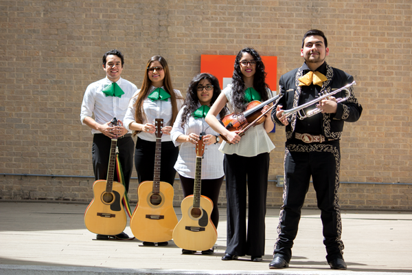 The Mariachi Club practices Tuesdays and Thursdays in F-117 for their performance for Cinco de Mayo. From left, Jonathan Ferre, Sarahi Perez, Maria Torres, Bitia Espinosa and Alexander Brown. PHOTO BY DAVID SANCHEZ/THE ET CETERA.