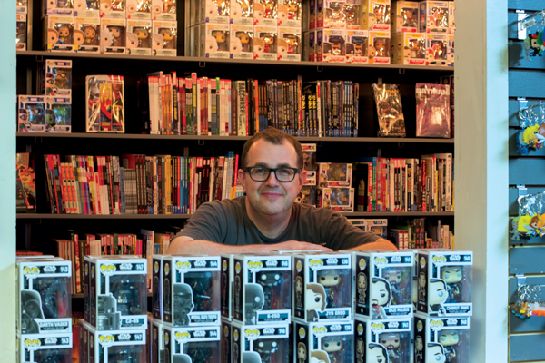 Kenneth Denson co-owns Red Pegasus Comics with his husband. Photo by Macks Prewitt/The Et Cetera