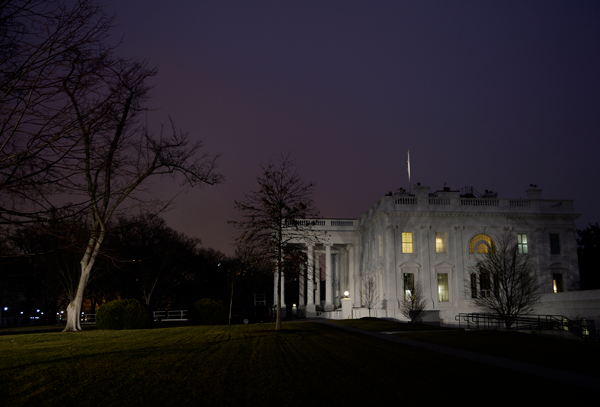 The White House in the early morning on the first full day of President Trump in office, on Saturday, Jan. 21, 2017, in Washington, D.C. (Olivier Douliery/Abaca Press/TNS)