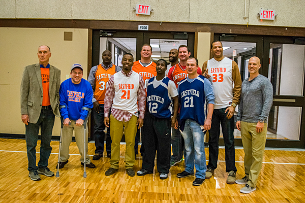 The players and coaches, as well as former Et Cetera sports editor Michael Morrill (second from left). Photo by Andrew Gonzales/The Et Cetera.