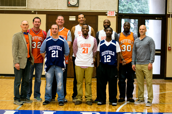 The 1997 Eastfield national championship winning basketball team. Back row form left: Coach Bob Flickner, Jay York, Will Young, Cordell Ray Jr., Ray Lee, Greg Monroe, Asst. Coach Mark Murdock. Front row from left: Chuck Young, Byron Bynum, Henry Williams.