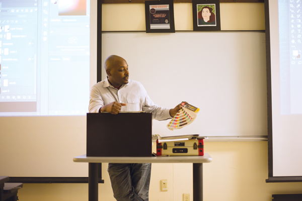 Oslynn Williams, digital media professor and barbecuer, encourages his students to compete with one another in the classroom. Photo by Alejandra Rosas.