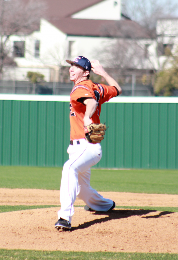 Freshman pitcher Matt Terrones throws in the Harvesters first game of this season against UTD.