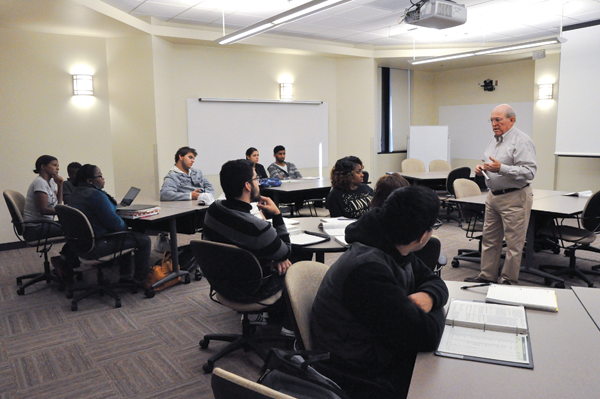 History professor Dr. Jerry Henson meets with his Honors Program students.