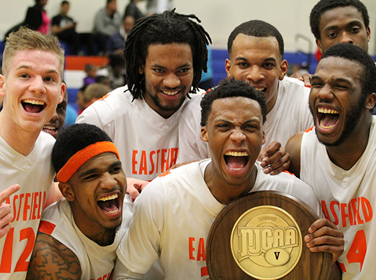 The Harvesters celebrate their NJCAA Region V championship after defeating Richland, 88-78, Monday night. Pictured, from left, are Josh Shockey, D.J. Jordan, Brendan Chapman, Ricardo Artis, Andrew Maxie and Sheldon Yearwood.