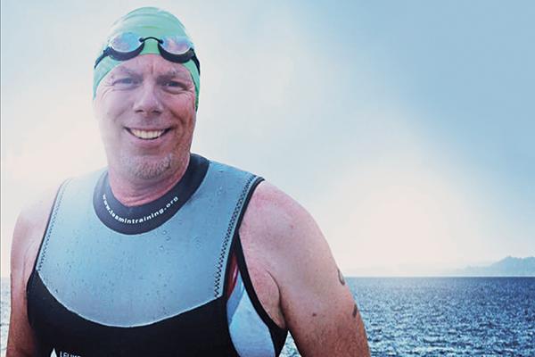 Away from campus, John Wadhams enjoyed competing in triathlons.