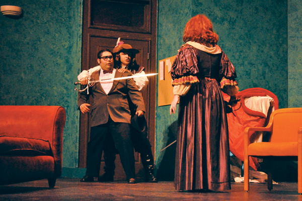 BRAULIO TELLEZ/THE ET CETERA Howard (Zachary Cooper), left, finds himself in the middle of a sword fight between George (Samuel Galindo), middle, and Charlotte Hay (Stephanie Carroll).