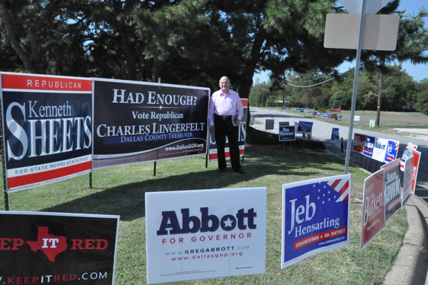 GUILLERMO MARTINEZ/THE ET CETERA Early voting will occur Oct. 20-31 in many locations around Dallas including Lakeside Activity Center in Mesquite, where Charles Lingerfelt was campaigning for Dallas County treasurer.