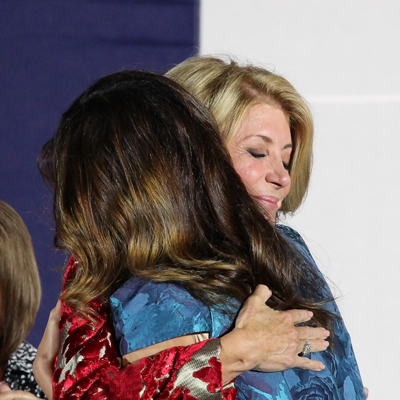 JONATHAN WENCES/THE ET CETERA Sen. Wendy Davis embraces her oldest daughter, Amber, after losing the governor's race.