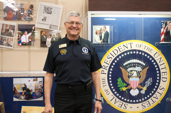 Don Baynham, vice president of institutional effectiveness and economic development, procured many of the items displayed in the library's new United States Presidential Visits display.