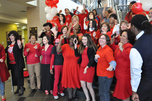 Several Eastfield faculty members wore red to raise awareness about heart disease.