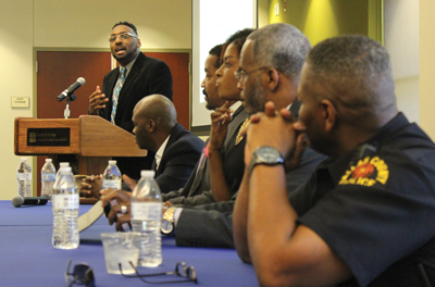 From left to right: Courtney Brazile, Patrick Patterson, Russel Wilson, Danielle Ayers, Richard Miles and Lt. Timothy Ellington. Photo by Jonathan Wences/The Et Cetera