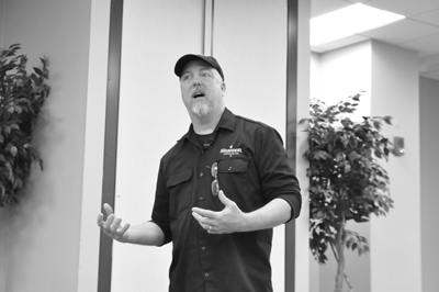 Shannon Carter, of Shannon Brewing Co. in Keller, discusses how scientific knowledge informs his brewmaking techniques at a STEM seminar on Feb. 18.