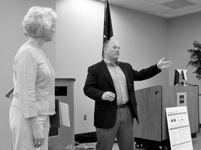 Reps. Cindy Burkett (R-Sunnyvale) and Kenneth Sheets (R-Dallas) address a town hall meeting March 28 at Eastfield. Photo by James Hartley/The Et Cetera.