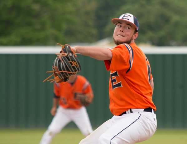JONATHAN WENCES/THE ET CETERA Freshman Blake Barr of Midlothian, who leads the nation with 83 strikeouts in 58 innings, fires a pitch April 20 in a doubleheader against University of Texas at Dallas.