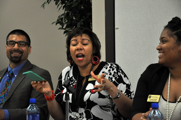 Executive Dean Courtney Carter-Harbour, center, encourages embracing changes to the Office of Student Life at an SGA forum June 4. The is flanked by Vice President Michael Gutierrez and clubs coordinator Unswella Ankton,