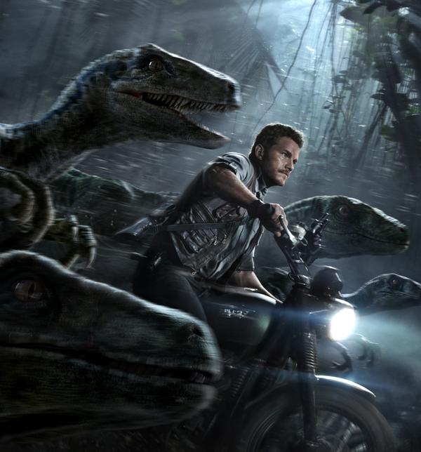 "Velociraptor trainer Owen (Chris Pratt) and his sidekicks race to stop a hybrid dinosaur in ""Jurassic World."" Photo courtesy Universal Pictures"