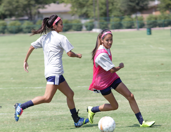 The soccer team, which opened play Aug. 22, practices last week. They next play at home against Wiley College on Sept. 3. Conference play starts Sept. 22.