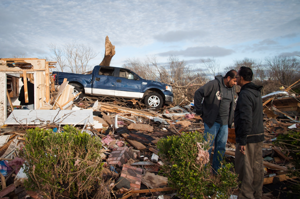Garland, Texas was one of the hardest hit areas in North Texas. The tornado picked up vehicles and moved them, sometimes yards from their original position.