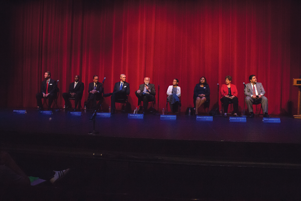 Nine of the 10 candidates for the DCCCD Board of Trustees participate in a March 30 forum at Eastfield in advance of the May 7 election. PHOTO BY JAMES HARTLEY/THE ET CETERA