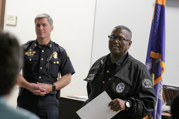 Police Chief Michael Horak, left, and Capt. Timothy Ellington explore ideas to improve police relations with students and staff. PHOTO BY JONATHAN WENCES/THE ET CETERA.