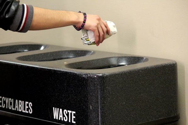 Multipurpose waste and recycle bins all around campus have been arranged so that recycling is always on the left and waste is on the right.