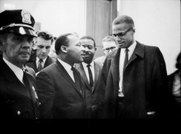 Martin Luther King Jr. and Malcolm X met only once when both visited the Capitol on March 26, 1964, to listen to politicians debate the 1964 Civil Rights Act, which would later pass. COURTESY OF LIBRARY OF CONGRESS