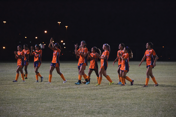Eastfield Soccer shows support for their fans after the 4-2 win over Brookhaven on Oct. 14. Photo by Andrew Gonzales/The Et Cetera