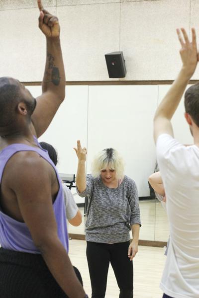 Dance professor Danielle Georgiou coordinates with members of the Danielle Georgiou Dance Group during a rehearsal this month. Photos by David Sanchez/The Et Cetera