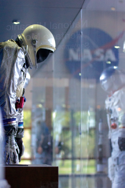 A space suit sits on display at the Johnson Space Center in Houston, Texas. Photo by David Sanchez/The Et Cetera