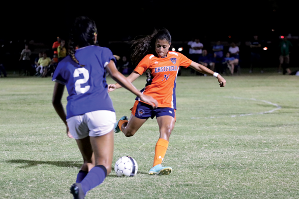 Karla Gutierrez takes a shot at the goal in the Harvesters 1-0 loss to Western Texas College on Sept. 9. Photo by Isabel Espinoza.