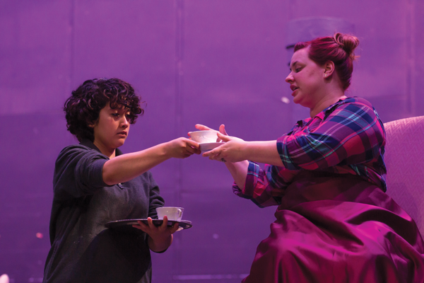 """From left, Iris Hernandez plays Helene and Caitlin Duree stars as Nora in Eastfield's performance of """"A Doll's House."""" Photo by David Sanchez/The Et Cetera"""