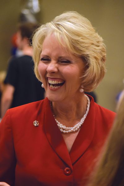 Cindy Burkett, an Eastfield alumnae, celebrates after winning re-election. Photo by Andrew Gonzales/The Et Cetera