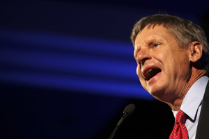 Former New Mexico governor and Republican presidential candidate Gary Johnson speaks at the Drug Policy Alliance's 2011 International Drug Policy Reform Conference at the Westin Hotel in Los Angeles, California, November 3, 2011. (Brian van der Brug/Los Angeles Times/MCT)