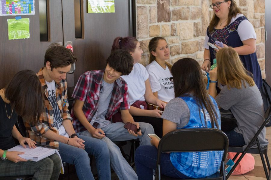 Espinosa's co-op, one of the largest in Texas, meets on Friday at Lakeshore Church in Rockwall. Espinosa has the opportunity to take regular classes like algebra, history and science through the co-op, as well as elective classes like theater. Between classes, the co-op students gather in the cafeteria to hang out. James Hartley/The Et Cetera