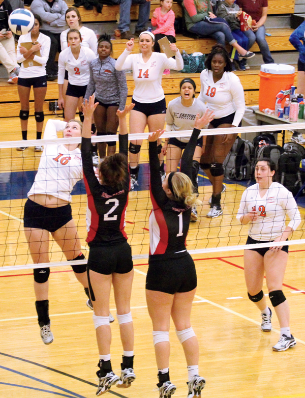 Payton+Costlow+goes+up+for+a+kill+against+Ridgewater+on+Nov.+11.+Costlow+was+named+to+the+All-tournament+team.