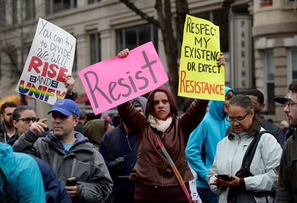 Protesters block K street during the inauguration of President Donald Trump on Jan. 20, 2017 in Washington, D.C. (Olivier Douliery/Abaca Press/TNS)