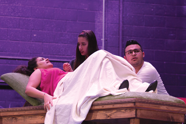 """From left, Albamar Seguinot, Giavonna Ramos-Woten and Vincent Perez star in The Harvester Theatre Company's production of """"In The Next Room, or The Vibrator Play."""""""