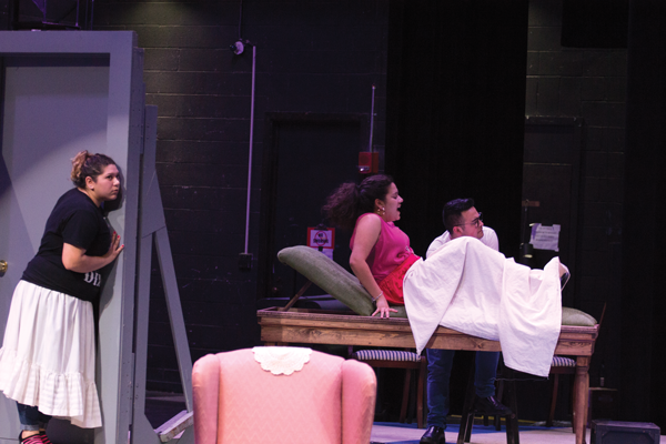 """From left, Monica Lyra, Albamar Seguinot and Vincent Perez star in the Harvester Theatre Company's production of """"In the Next Room, or the Vibrator Play."""" Photo by David Sanchez."""