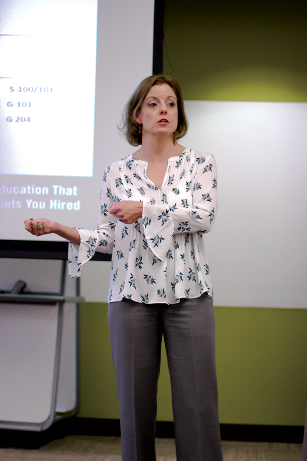 Associate Dean Amy Vance, district liason for the Campus Carry Committee, leads a forum last month soliciting input on gun-free zones. Andrew Gonzales/The Et Cetera